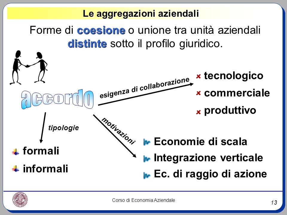 13 Corso di Economia Aziendale Le aggregazioni aziendali coesione Forme di coesione o unione tra unità aziendali distinte distinte sotto il profilo gi