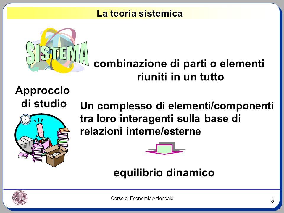 3 Corso di Economia Aziendale La teoria sistemica combinazione di parti o elementi riuniti in un tutto equilibrio dinamico Approccio di studio Un comp