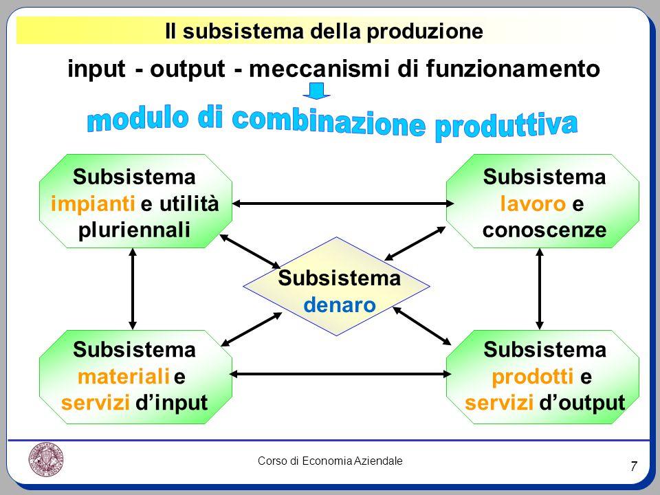 7 Corso di Economia Aziendale Il subsistema della produzione input - output - meccanismi di funzionamento Subsistema impianti e utilità pluriennali Su