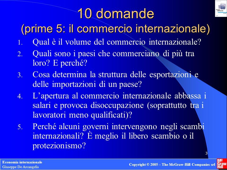 Economia internazionale Giuseppe De Arcangelis Copyright © 2005 – The McGraw-Hill Companies srl 3 10 domande (prime 5: il commercio internazionale) 1.