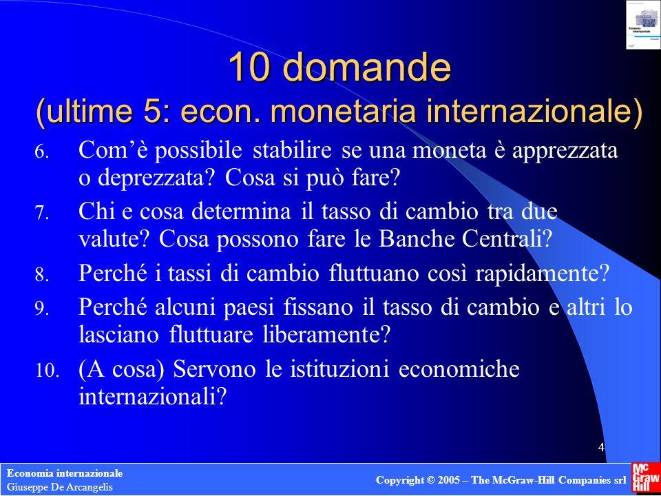 Economia internazionale Giuseppe De Arcangelis Copyright © 2005 – The McGraw-Hill Companies srl 4 6. Comè possibile stabilire se una moneta è apprezza