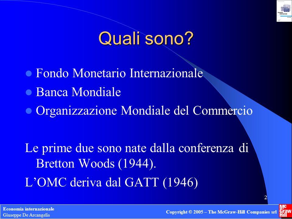 Economia internazionale Giuseppe De Arcangelis Copyright © 2005 – The McGraw-Hill Companies srl 12 FMI: aree di attività Sorveglianza Assistenza finanziaria Assistenza tecnica