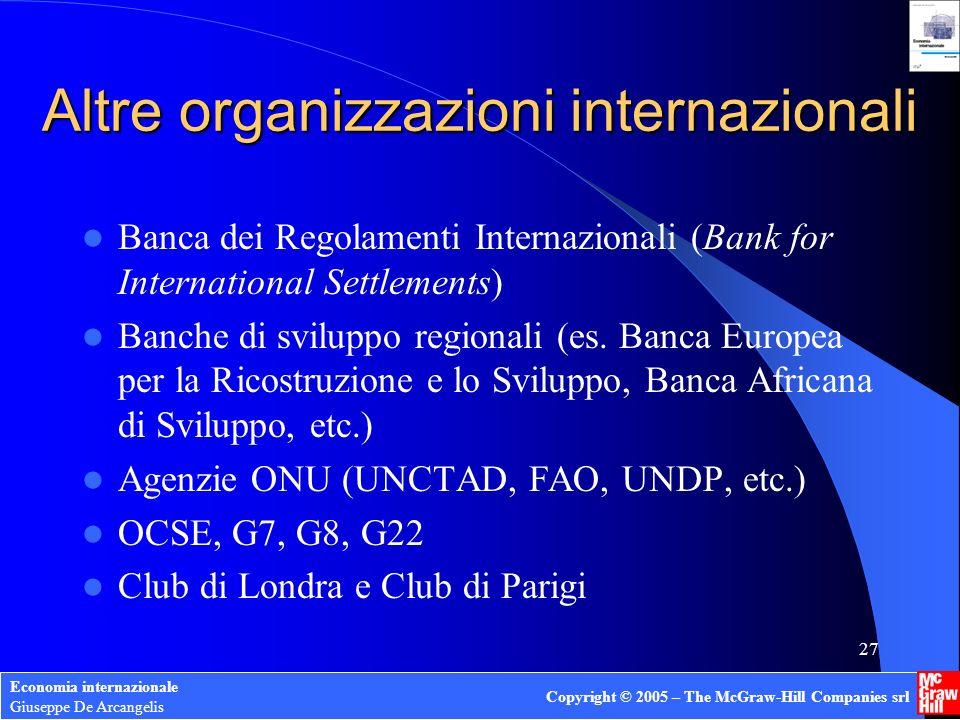 Economia internazionale Giuseppe De Arcangelis Copyright © 2005 – The McGraw-Hill Companies srl 26 Organizzazione dellOMC
