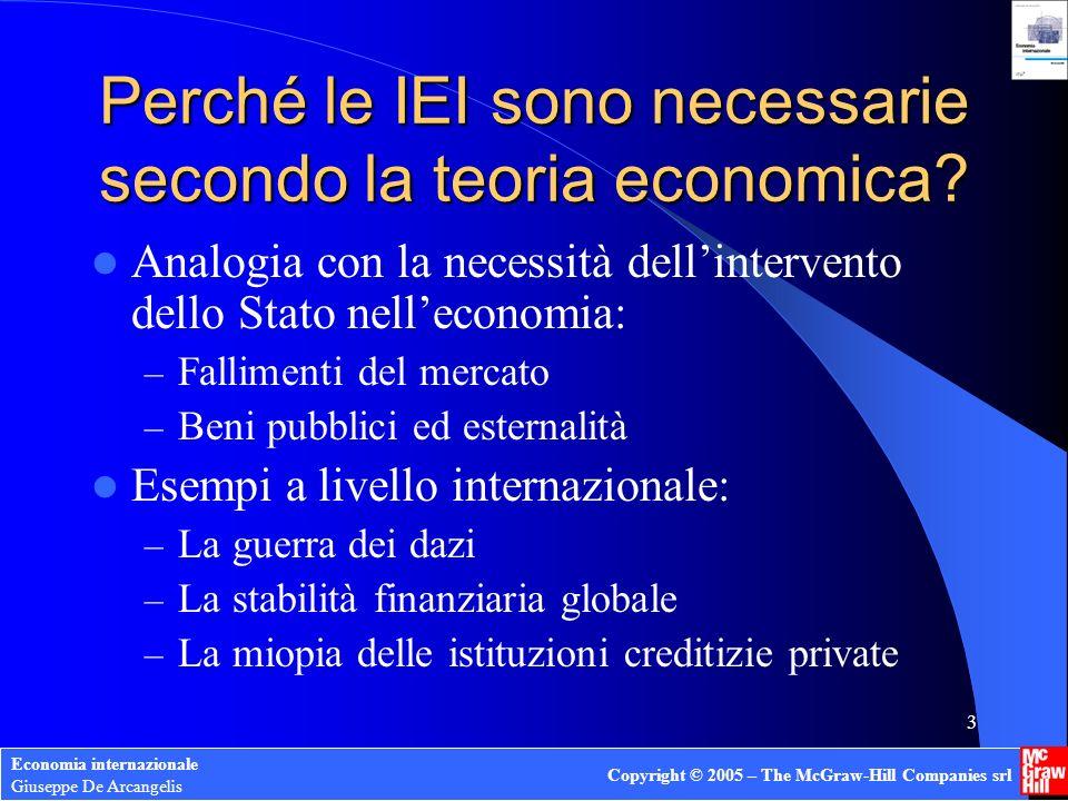 Economia internazionale Giuseppe De Arcangelis Copyright © 2005 – The McGraw-Hill Companies srl 3 Perché le IEI sono necessarie secondo la teoria economica.