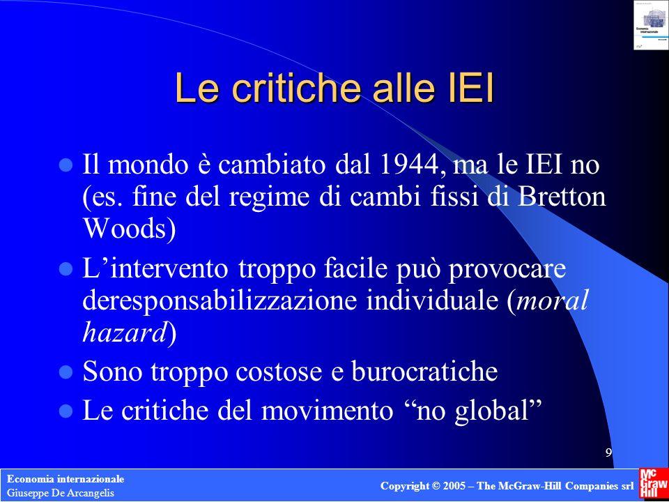 Economia internazionale Giuseppe De Arcangelis Copyright © 2005 – The McGraw-Hill Companies srl 9 Le critiche alle IEI Il mondo è cambiato dal 1944, ma le IEI no (es.
