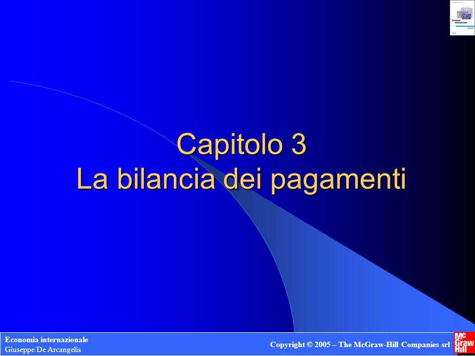 Capitolo 3 La bilancia dei pagamenti Economia internazionale Giuseppe De Arcangelis Copyright © 2005 – The McGraw-Hill Companies srl