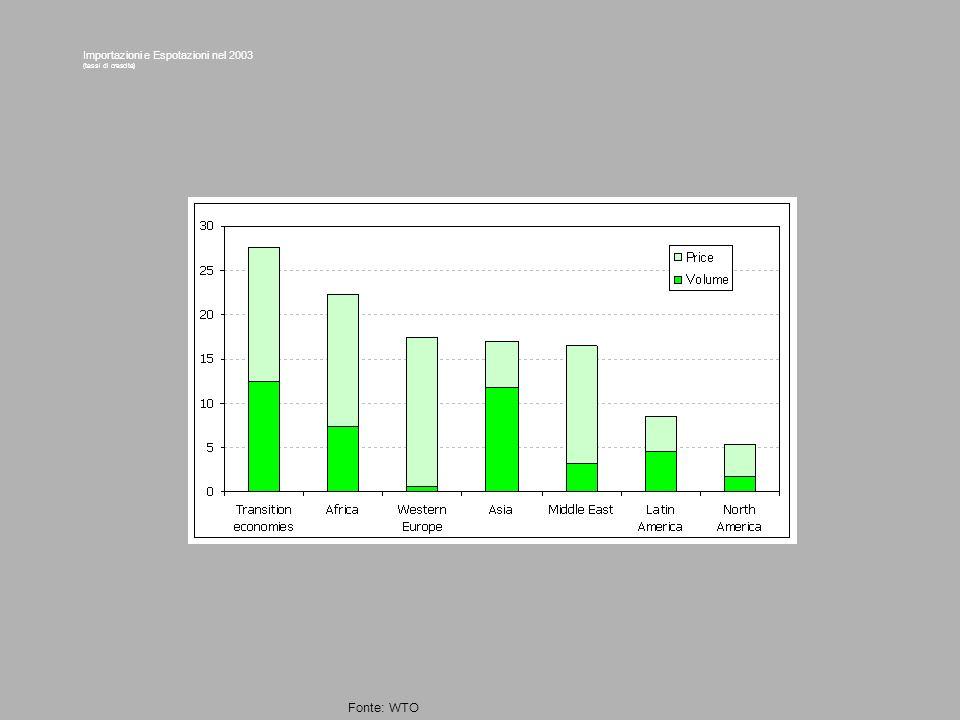 Importazioni e Espotazioni nel 2003 (tassi di crescita) Fonte: WTO