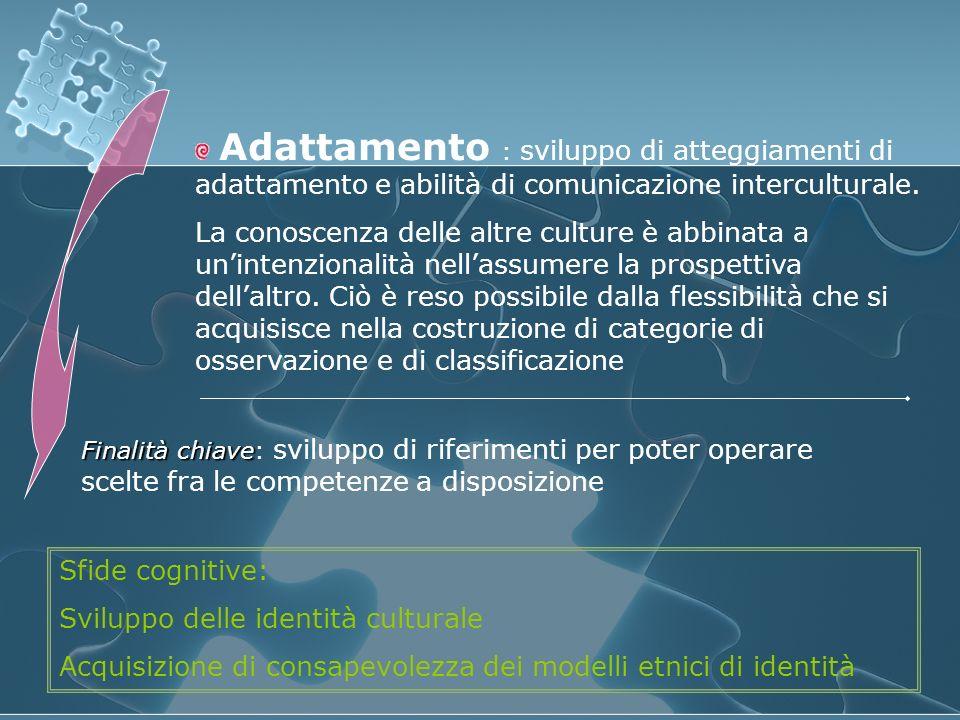 Adattamento : sviluppo di atteggiamenti di adattamento e abilità di comunicazione interculturale. La conoscenza delle altre culture è abbinata a unint