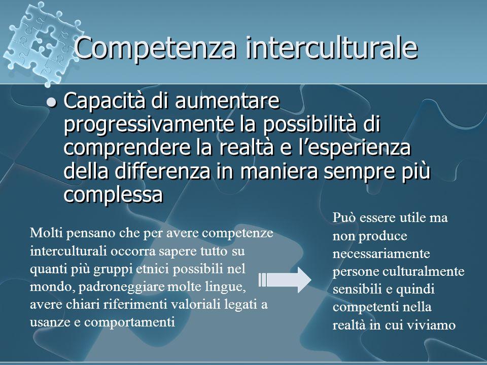 Competenza interculturale Capacità di aumentare progressivamente la possibilità di comprendere la realtà e lesperienza della differenza in maniera sem