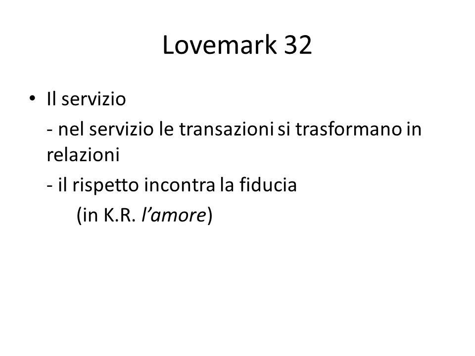 Lovemark 32 Il servizio - nel servizio le transazioni si trasformano in relazioni - il rispetto incontra la fiducia (in K.R. lamore)