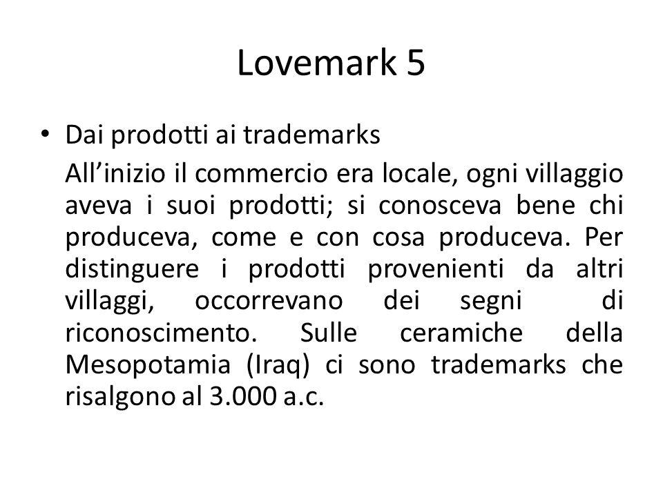 Lovemark 5 Dai prodotti ai trademarks Allinizio il commercio era locale, ogni villaggio aveva i suoi prodotti; si conosceva bene chi produceva, come e