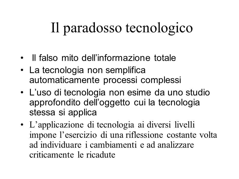 Il paradosso tecnologico Il falso mito dellinformazione totale La tecnologia non semplifica automaticamente processi complessi Luso di tecnologia non