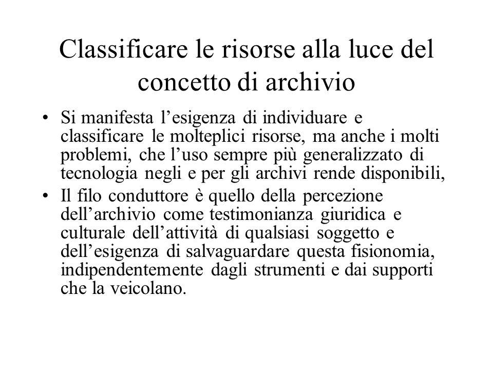 Classificare le risorse alla luce del concetto di archivio Si manifesta lesigenza di individuare e classificare le molteplici risorse, ma anche i molt