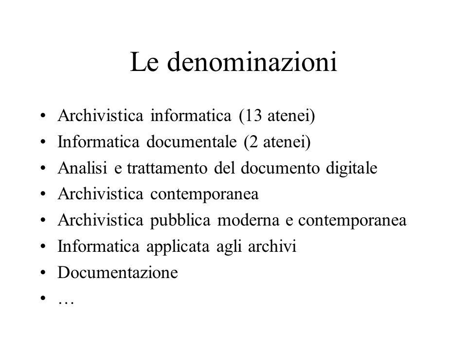 Le denominazioni Archivistica informatica (13 atenei) Informatica documentale (2 atenei) Analisi e trattamento del documento digitale Archivistica con