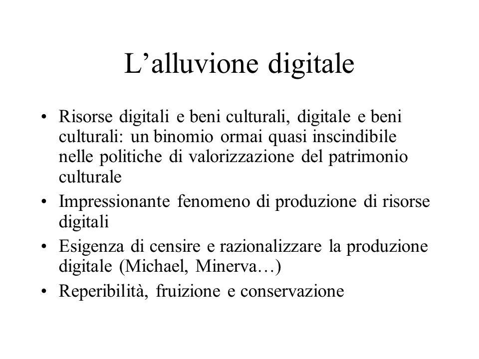 Lalluvione digitale Risorse digitali e beni culturali, digitale e beni culturali: un binomio ormai quasi inscindibile nelle politiche di valorizzazion