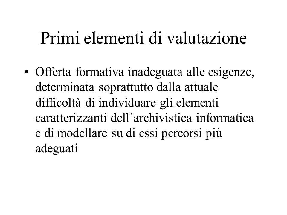 Primi elementi di valutazione Offerta formativa inadeguata alle esigenze, determinata soprattutto dalla attuale difficoltà di individuare gli elementi