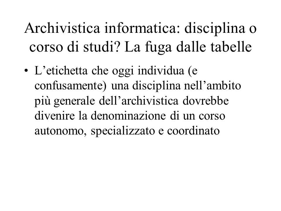 Archivistica informatica: disciplina o corso di studi? La fuga dalle tabelle Letichetta che oggi individua (e confusamente) una disciplina nellambito