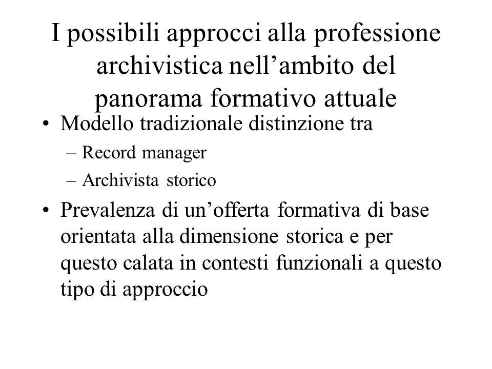 I possibili approcci alla professione archivistica nellambito del panorama formativo attuale Modello tradizionale distinzione tra –Record manager –Arc