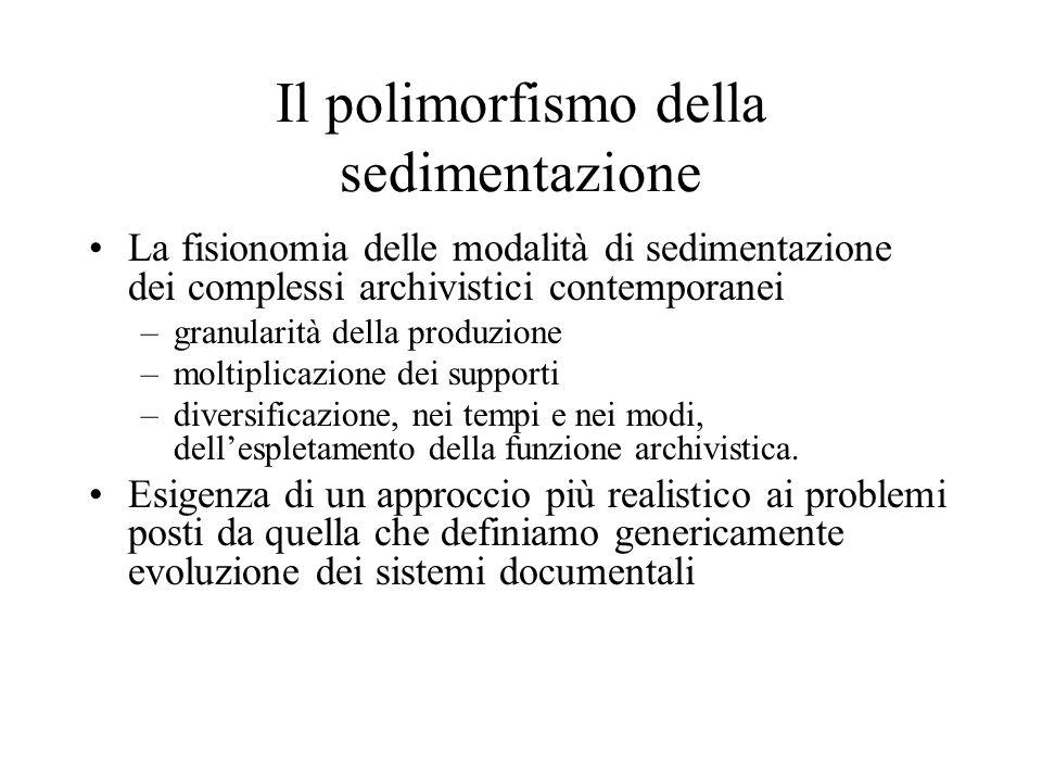 Il polimorfismo della sedimentazione La fisionomia delle modalità di sedimentazione dei complessi archivistici contemporanei –granularità della produz