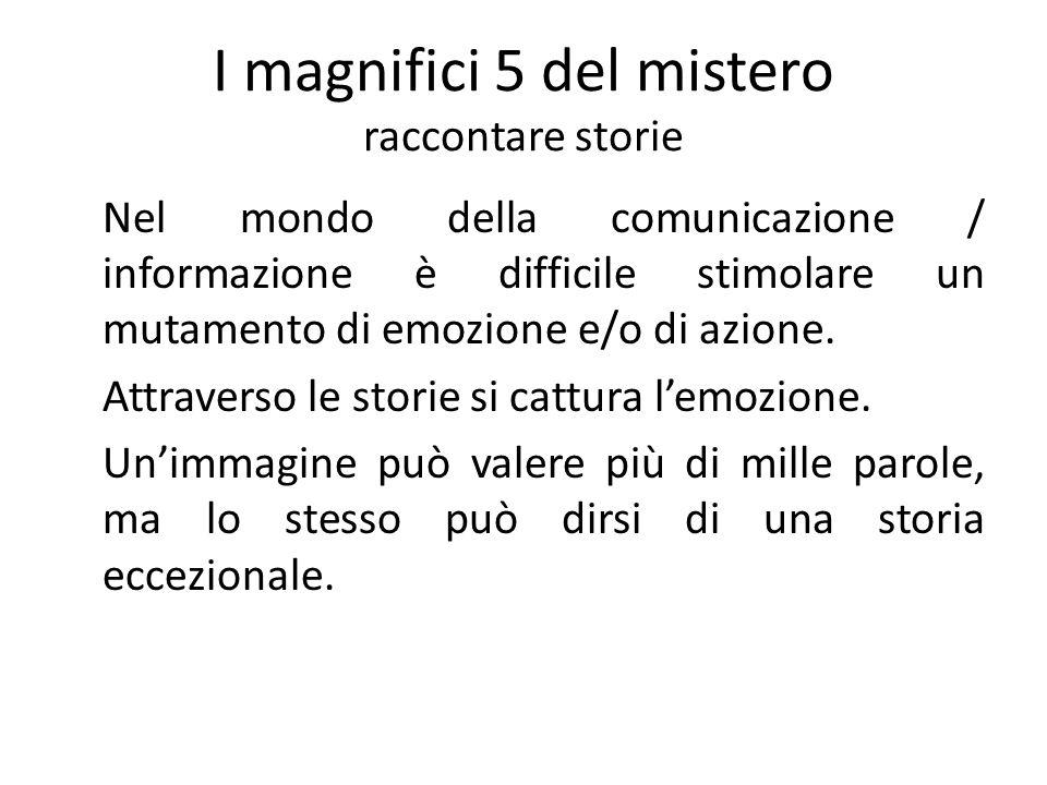 I magnifici 5 del mistero raccontare storie Nel mondo della comunicazione / informazione è difficile stimolare un mutamento di emozione e/o di azione.