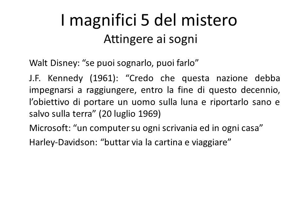 I magnifici 5 del mistero Attingere ai sogni Walt Disney: se puoi sognarlo, puoi farlo J.F. Kennedy (1961): Credo che questa nazione debba impegnarsi