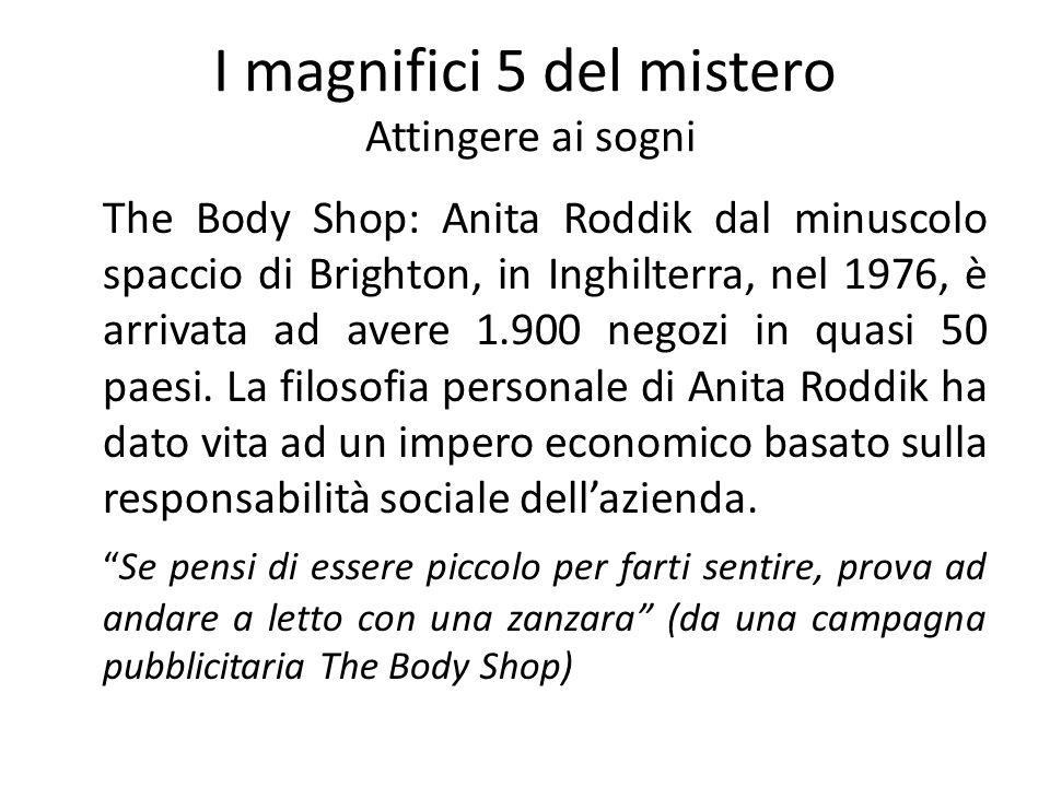 I magnifici 5 del mistero Attingere ai sogni The Body Shop: Anita Roddik dal minuscolo spaccio di Brighton, in Inghilterra, nel 1976, è arrivata ad av