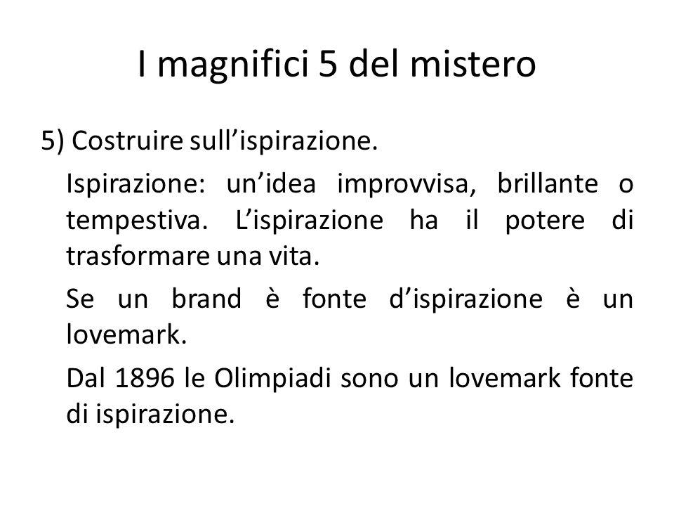 I magnifici 5 del mistero 5) Costruire sullispirazione. Ispirazione: unidea improvvisa, brillante o tempestiva. Lispirazione ha il potere di trasforma