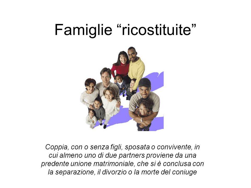 Famiglie ricostituite Coppia, con o senza figli, sposata o convivente, in cui almeno uno di due partners proviene da una predente unione matrimoniale, che si è conclusa con la separazione, il divorzio o la morte del coniuge