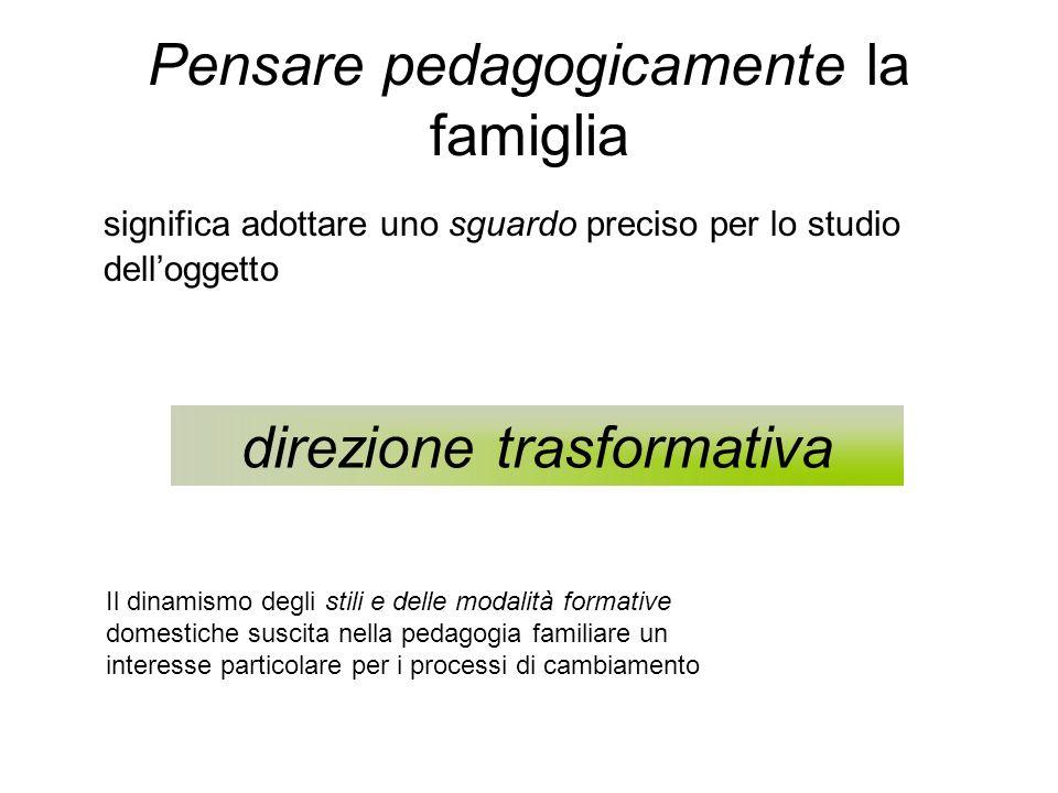 Pensare pedagogicamente la famiglia significa adottare uno sguardo preciso per lo studio delloggetto direzione trasformativa Il dinamismo degli stili e delle modalità formative domestiche suscita nella pedagogia familiare un interesse particolare per i processi di cambiamento