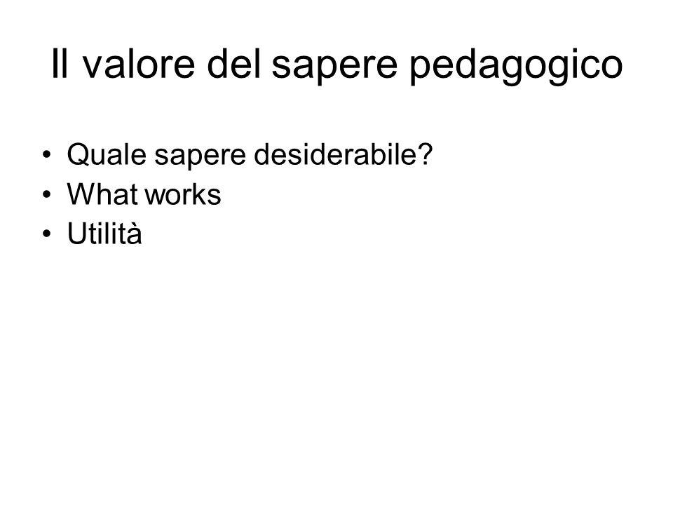 Il valore del sapere pedagogico Quale sapere desiderabile What works Utilità