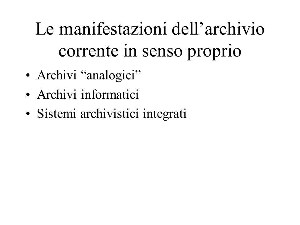 Le manifestazioni dellarchivio corrente in senso proprio Archivi analogici Archivi informatici Sistemi archivistici integrati