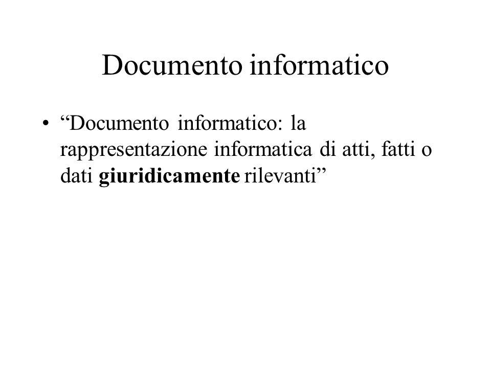 Documento informatico Documento informatico: la rappresentazione informatica di atti, fatti o dati giuridicamente rilevanti