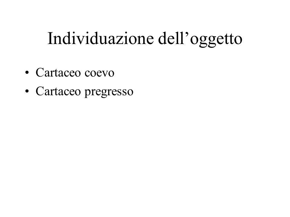 Individuazione delloggetto Cartaceo coevo Cartaceo pregresso