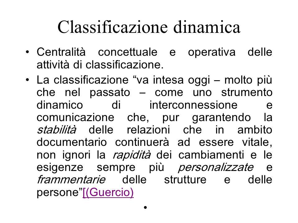 Classificazione dinamica Centralità concettuale e operativa delle attività di classificazione.