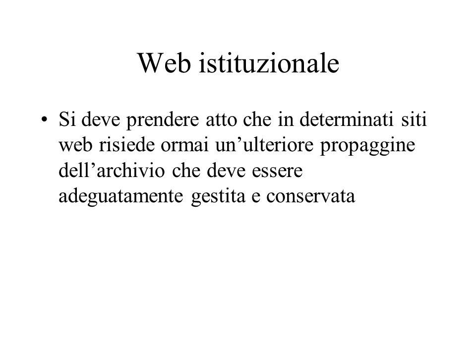 Web istituzionale Si deve prendere atto che in determinati siti web risiede ormai unulteriore propaggine dellarchivio che deve essere adeguatamente gestita e conservata