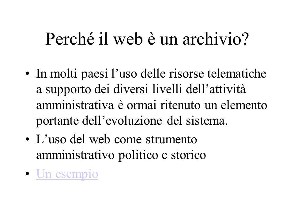 Perché il web è un archivio.