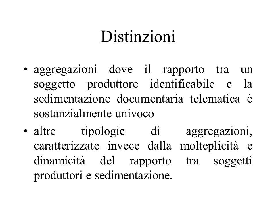 Distinzioni aggregazioni dove il rapporto tra un soggetto produttore identificabile e la sedimentazione documentaria telematica è sostanzialmente univoco altre tipologie di aggregazioni, caratterizzate invece dalla molteplicità e dinamicità del rapporto tra soggetti produttori e sedimentazione.