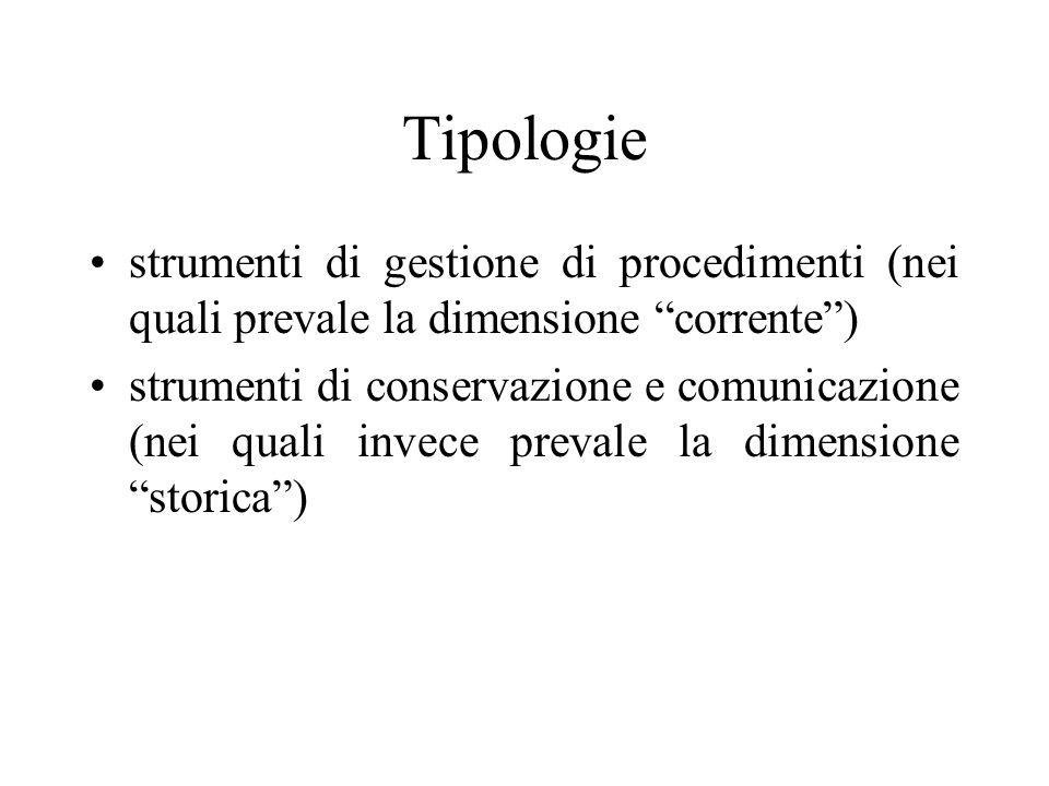 Tipologie strumenti di gestione di procedimenti (nei quali prevale la dimensione corrente) strumenti di conservazione e comunicazione (nei quali invece prevale la dimensione storica)