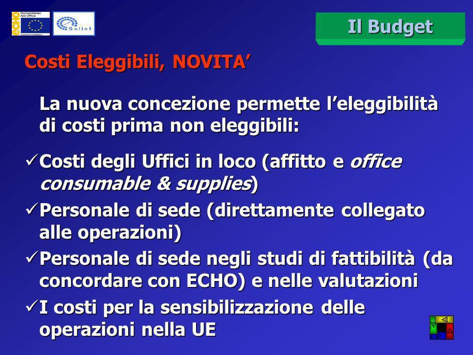 Il budget è strutturato secondo codici a 2, 4, 6, 8 cifre che devono essere seguiti in fase di presentazione del budget e di rendicontazione Il Budget