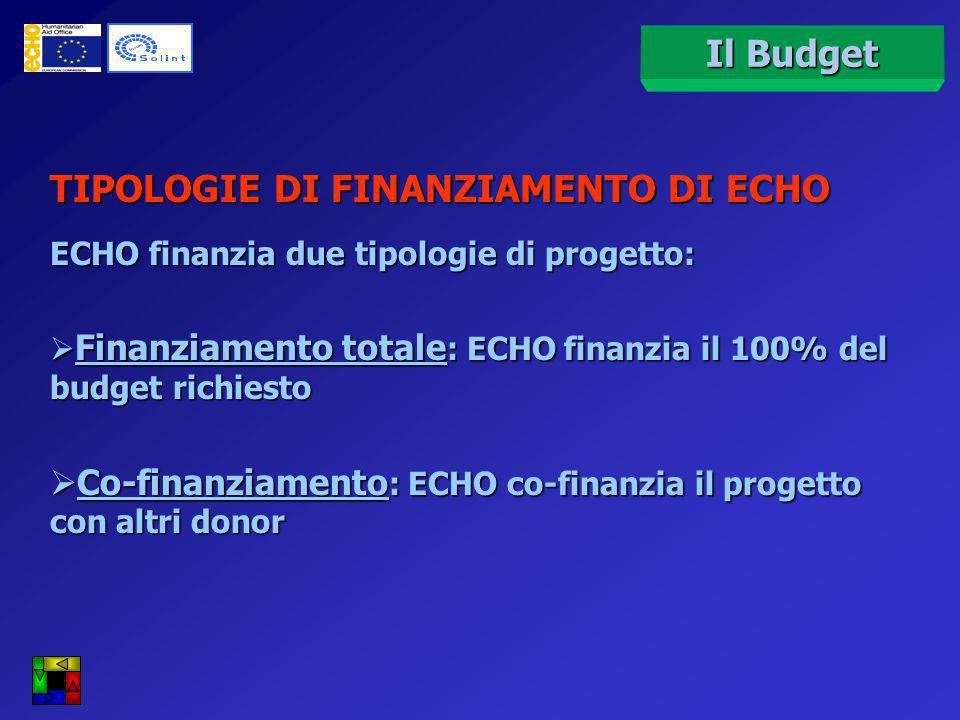 Il Budget TIPOLOGIE DI FINANZIAMENTO DI ECHO ECHO finanzia due tipologie di progetto: Finanziamento totale : ECHO finanzia il 100% del budget richiesto Finanziamento totale : ECHO finanzia il 100% del budget richiesto Co-finanziamento : ECHO co-finanzia il progetto con altri donor Co-finanziamento : ECHO co-finanzia il progetto con altri donor