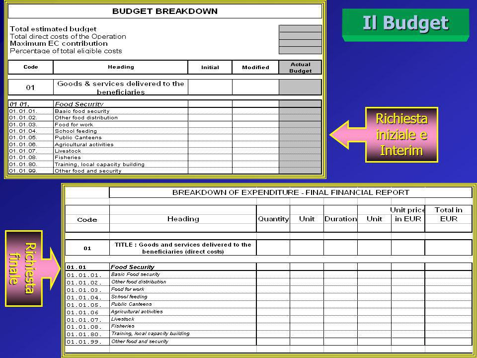 Il Budget Budget: le tre tipologie dei Formati Budget per Financial Request e Interim Financial Report Budget summary (a cura della CE) Budget per Final Financial Report Non presenta i dettagli Unità, Quantità e Costo Unitario Presenta solo le voci per Titoli e Capitoli Contiene i dettagli Unità, Quantità e Costo Unitario