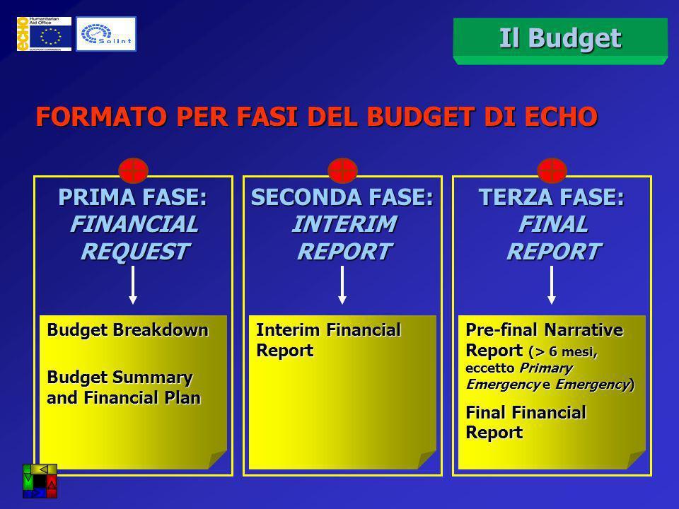 Richiesta iniziale e Interim Richiesta finale Il Budget