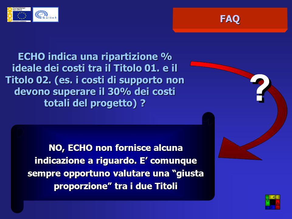 FAQ ECHO indica una ripartizione % ideale dei costi tra il Titolo 01.