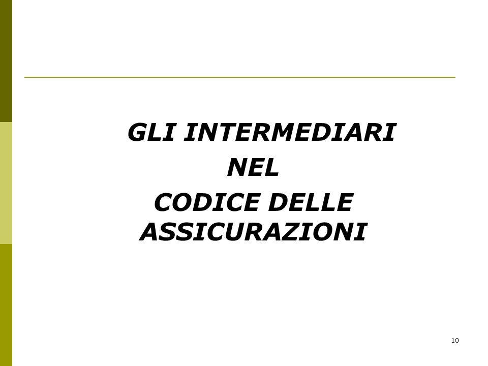 10 GLI INTERMEDIARI NEL CODICE DELLE ASSICURAZIONI