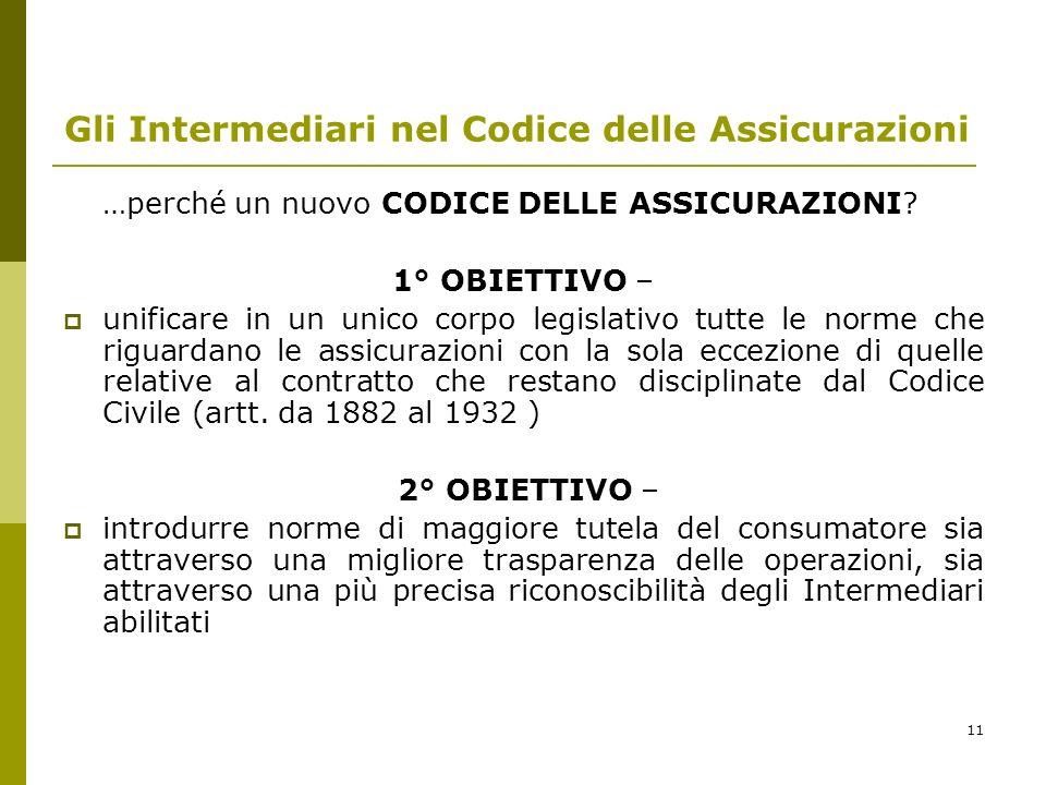 11 Gli Intermediari nel Codice delle Assicurazioni …perché un nuovo CODICE DELLE ASSICURAZIONI.