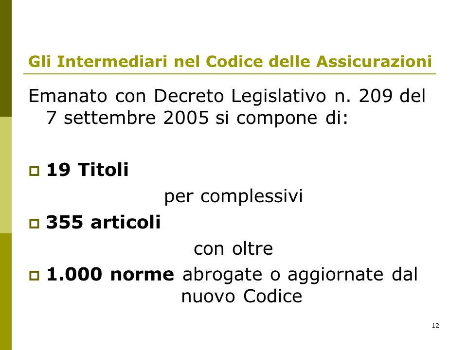 12 Gli Intermediari nel Codice delle Assicurazioni Emanato con Decreto Legislativo n. 209 del 7 settembre 2005 si compone di: 19 Titoli per complessiv