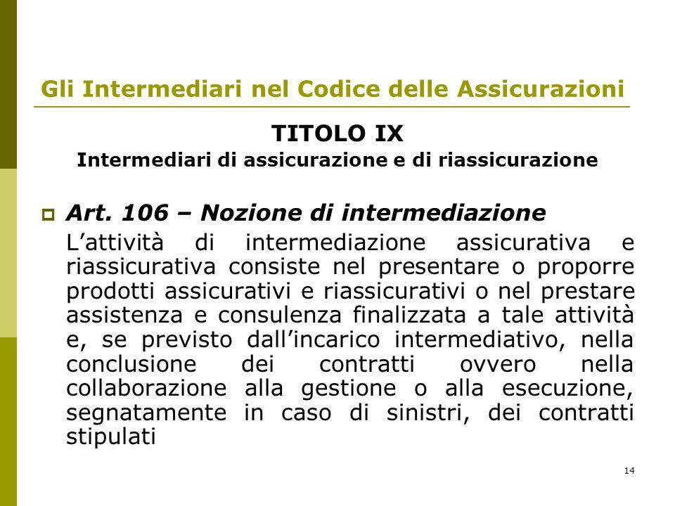 14 Gli Intermediari nel Codice delle Assicurazioni TITOLO IX Intermediari di assicurazione e di riassicurazione Art. 106 – Nozione di intermediazione