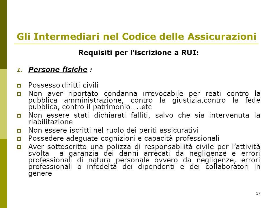 17 Gli Intermediari nel Codice delle Assicurazioni Requisiti per liscrizione a RUI: 1.