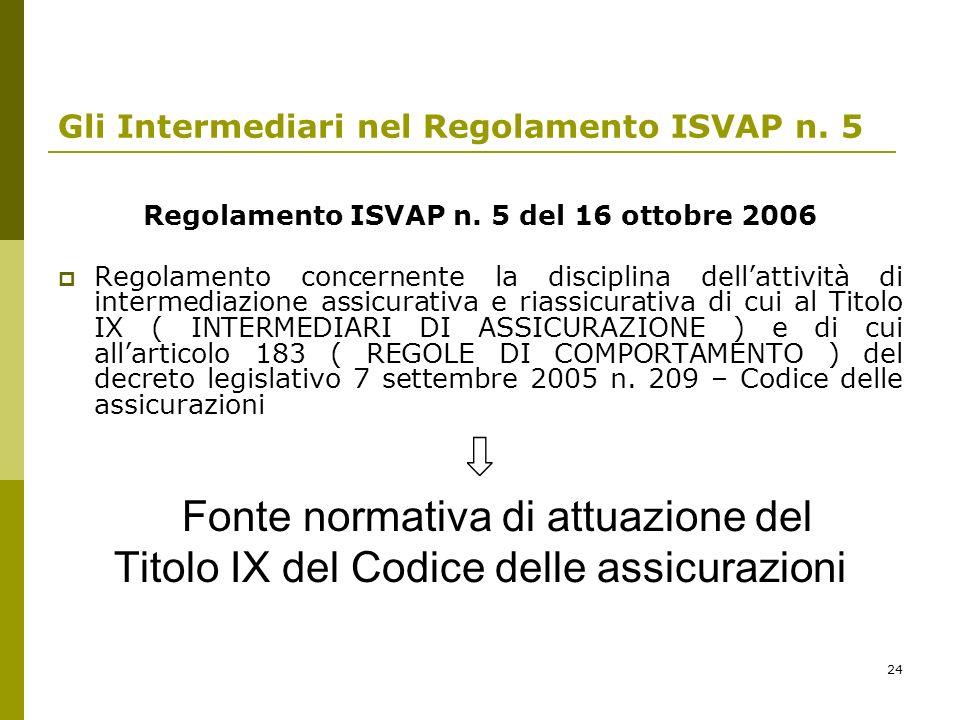 24 Gli Intermediari nel Regolamento ISVAP n. 5 Regolamento ISVAP n. 5 del 16 ottobre 2006 Regolamento concernente la disciplina dellattività di interm