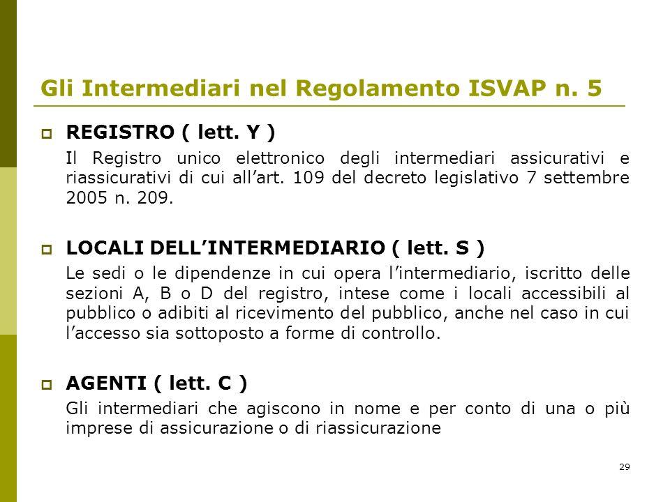 29 Gli Intermediari nel Regolamento ISVAP n. 5 REGISTRO ( lett. Y ) Il Registro unico elettronico degli intermediari assicurativi e riassicurativi di